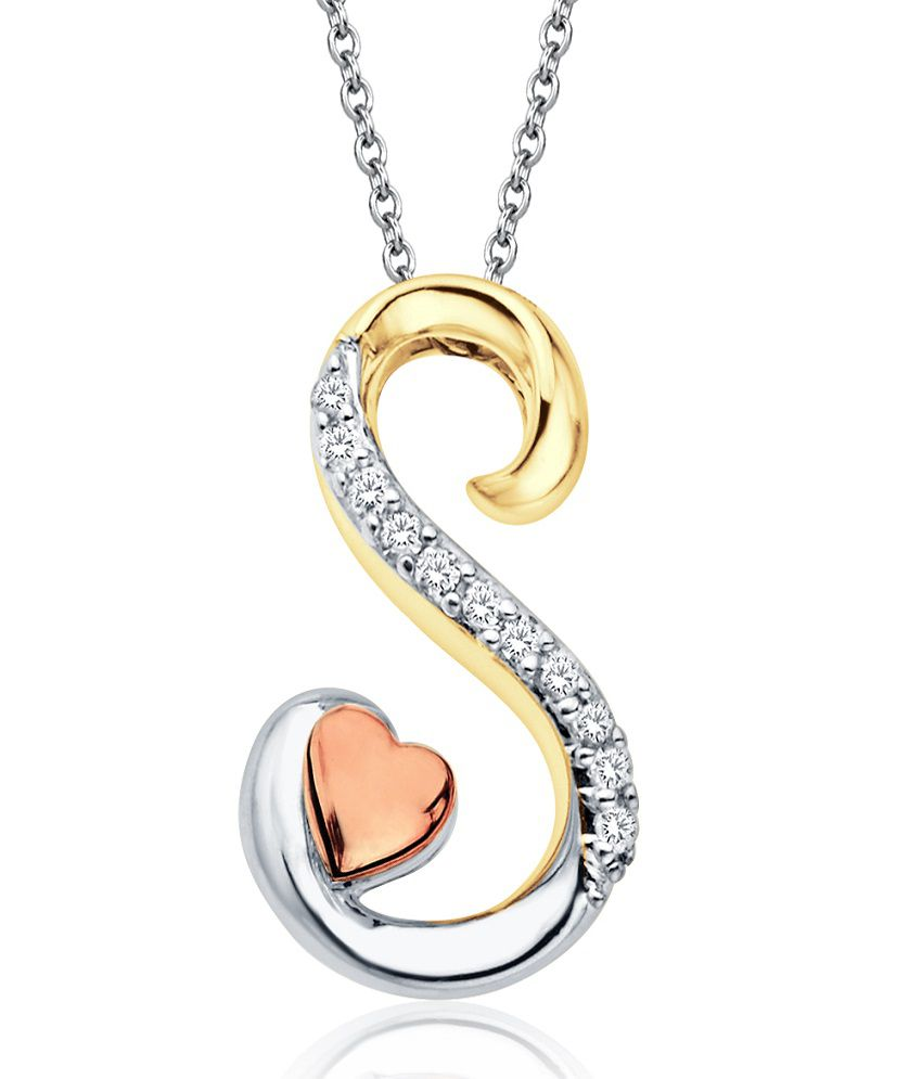Aamanat initial s tri tone love pendant in sterling silver aamanat initial s tri tone love pendant in sterling silver austrian diamond asp032 mozeypictures Image collections