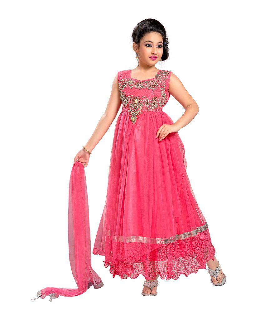 Aarika Pink Party Wear Gown For Kids - Buy Aarika Pink Party Wear ...