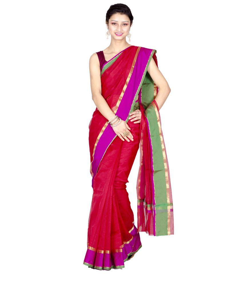 Chandrakala Red Cotton Silk Saree