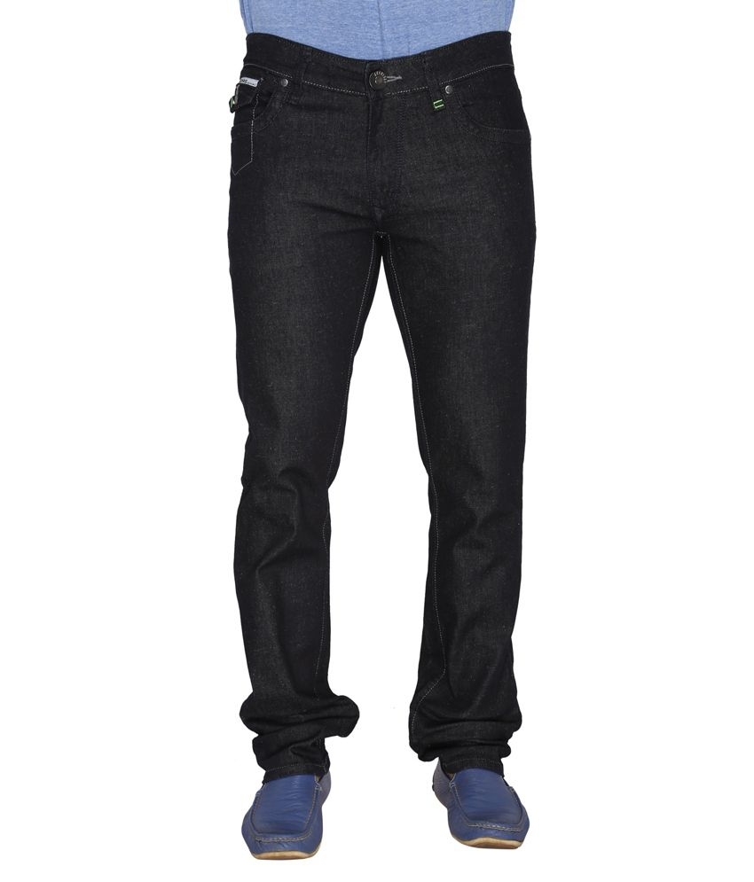 Leonidas Black Cotton Slim Men's Jeans