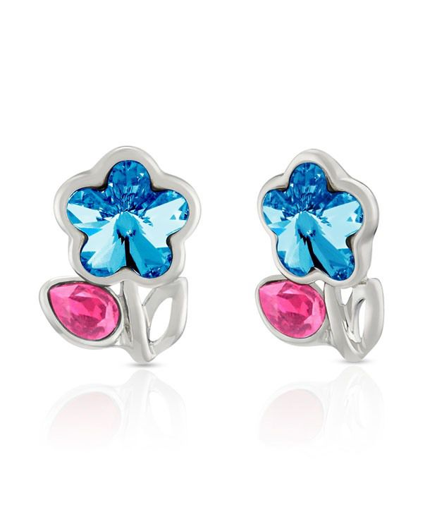 Mahi Rhodium Plated Pink Drop and Blue Floral Earrings Made with Swarovski Elements for Women ER1194115RBluPin