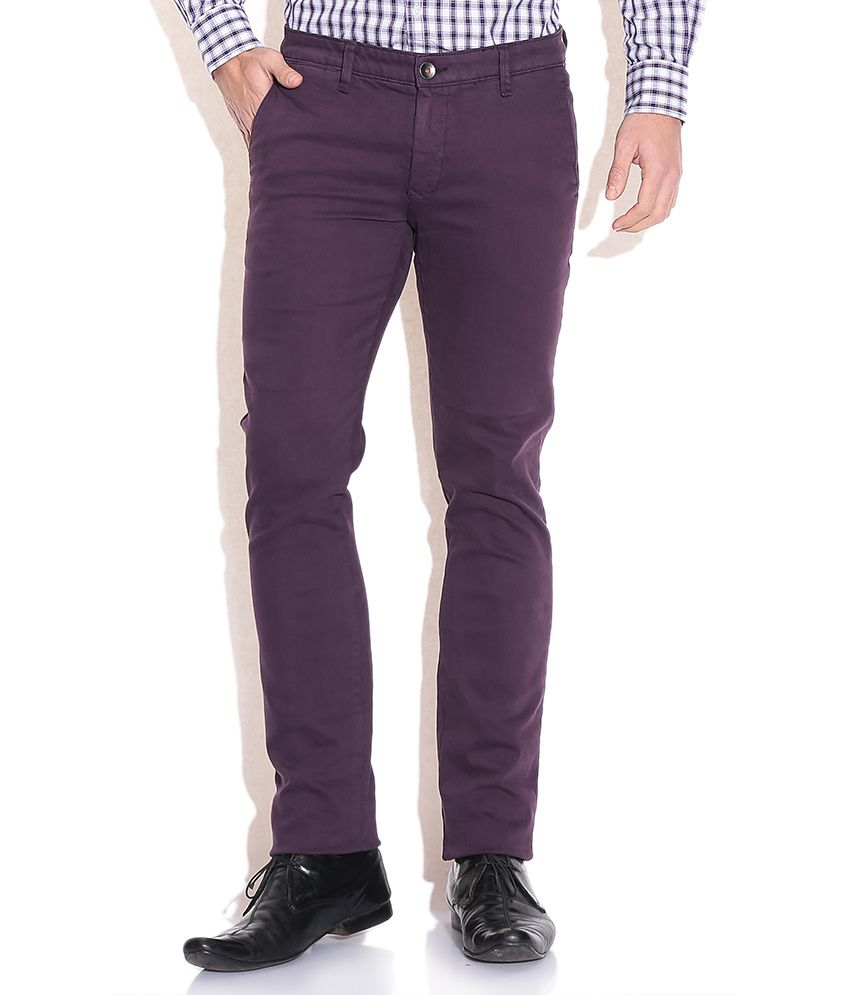 Wills Lifestyle Purple Slim Casuals Trousers & Chinos