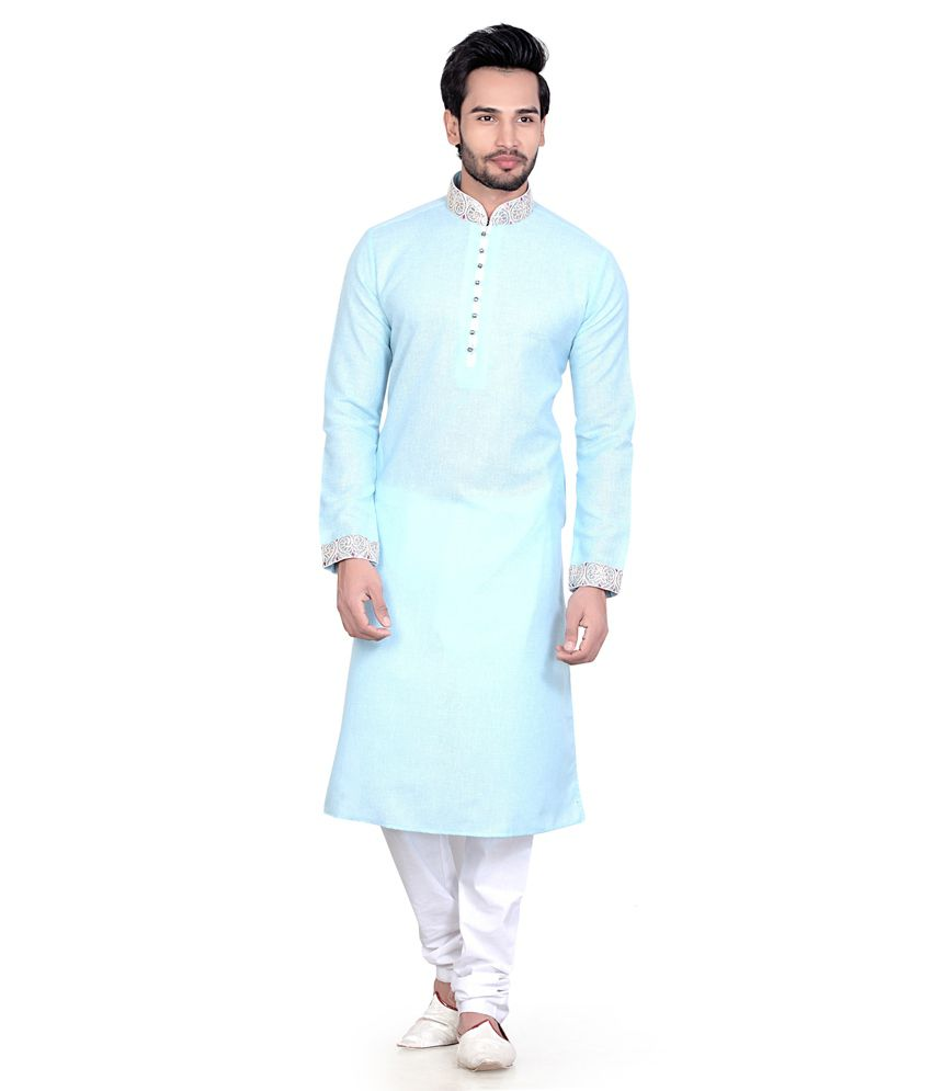 3eb7c2a1c6 ... Sky Blue Cotton Blend Regular Fit Kurta Pajama For Men - Buy Fuzion  Couture Sky Blue Cotton Blend Regular Fit Kurta Pajama For Men Online at Low  Price ...