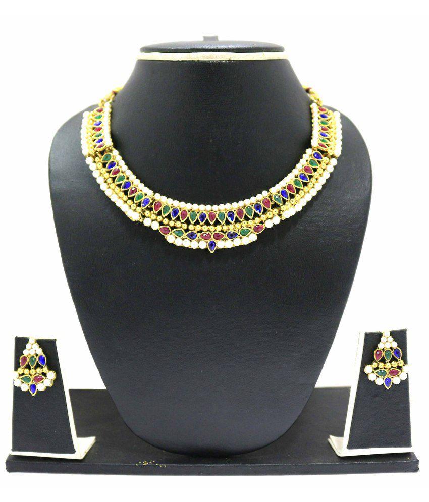 Zaveri Pearls Blue Alloy Contemporary Necklace Set