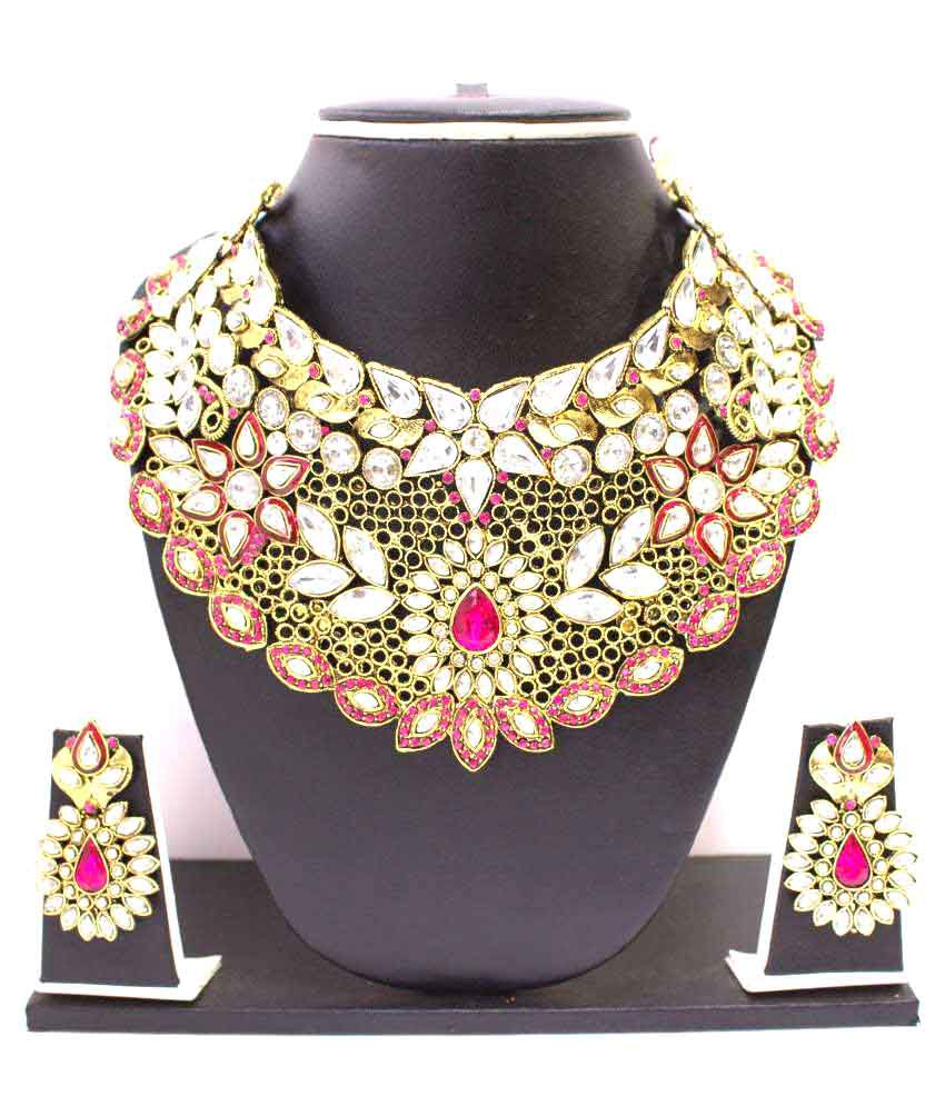 Zaveri Pearls Pink Alloy Contemporary Necklace Set