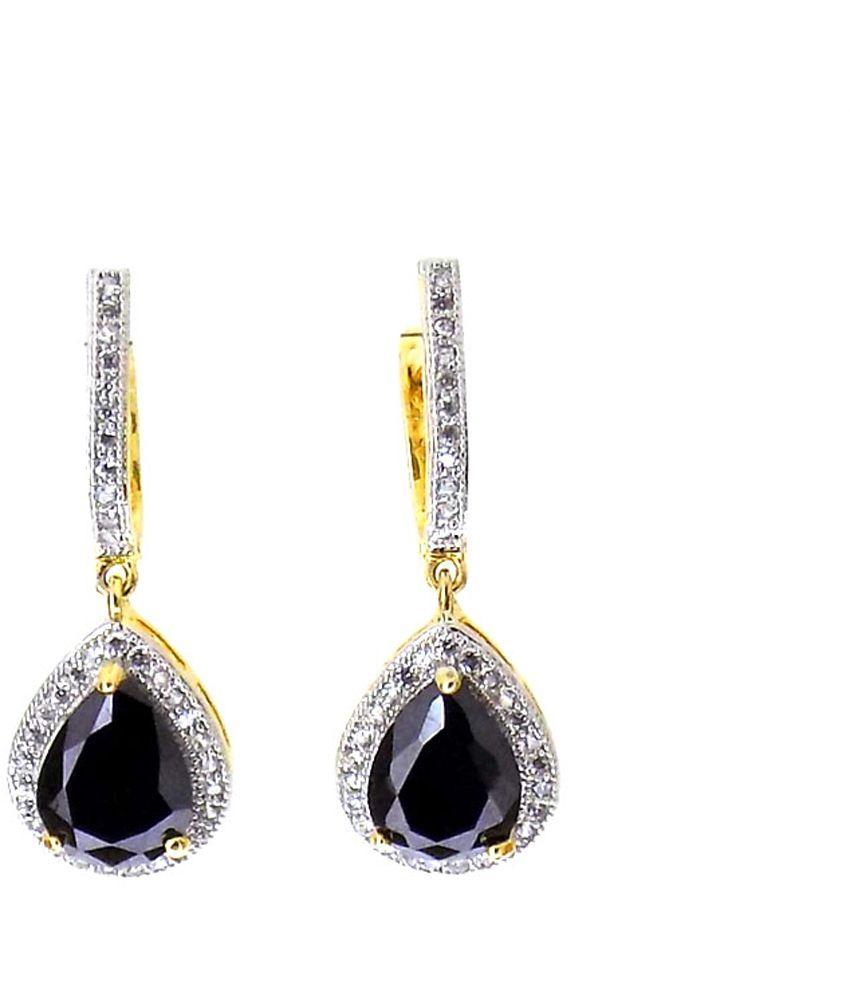 Aabhushan Jewels Onyx Look American Diamond Gold Plated Earrings For Women