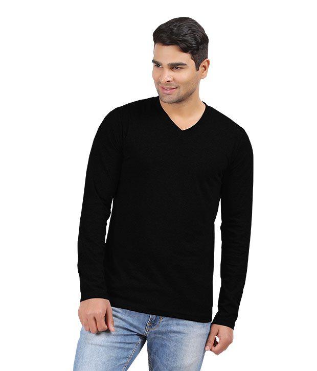 7541e27f276 Hbhwear Mens Black V-neck Full Sleeve T-shirt