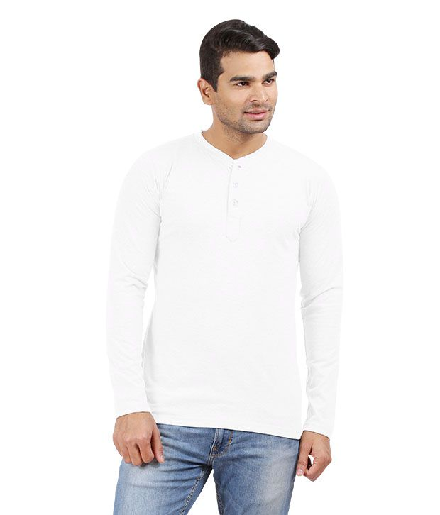 Hbhwear Mens White Henley Full Sleeve T Shirt Buy