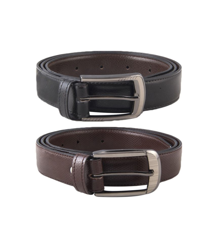 Kvalito Combo Of Formal Black And Brown Belt