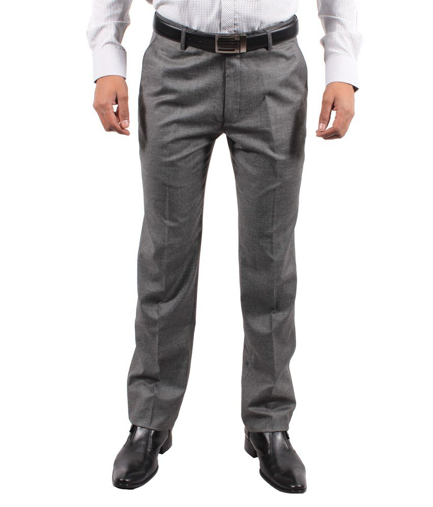 Solemio Gray Cotton Lycra Slim Fit Formal