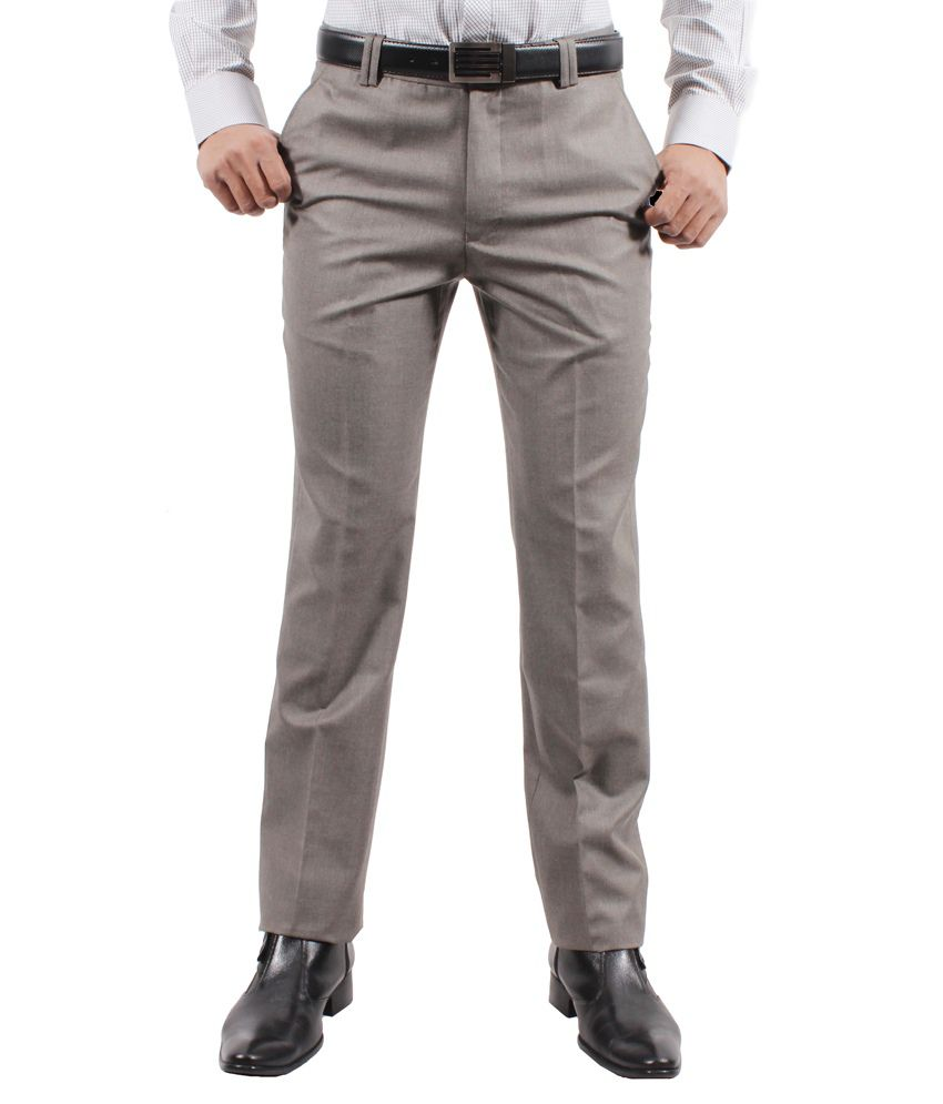 Solemio Gray Poly Viscose Slim Fit Formal