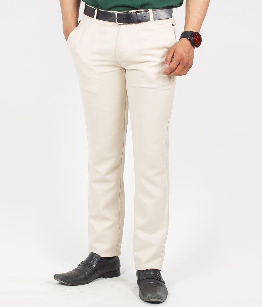 The Vanca Beige Cotton Linen Slim Fit Trouser