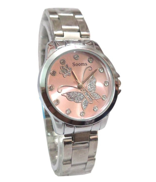 Sooms Pink Stainless Steel Analog Designer Women Watches