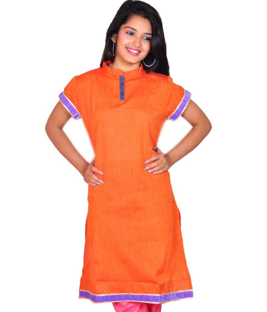 Spe Orange Cotton Long Kurti