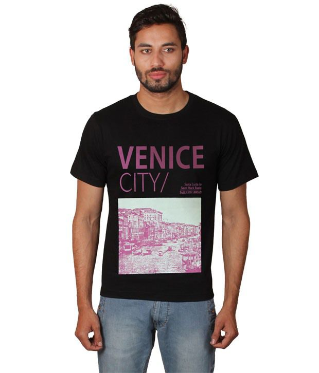Zovogue Cotton Printed Men's Venice City Black T-shirt