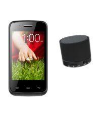 Adcom Kitkat A35 Plus 3g - Black With Mini Bluetooth Speaker