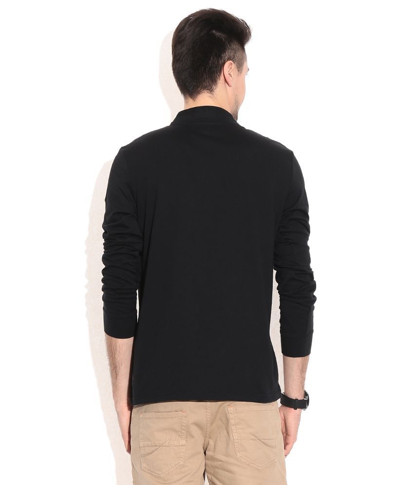 Black t shirt full sleeve with collar -  Celio Black Cotton Full Sleeves T Shirt