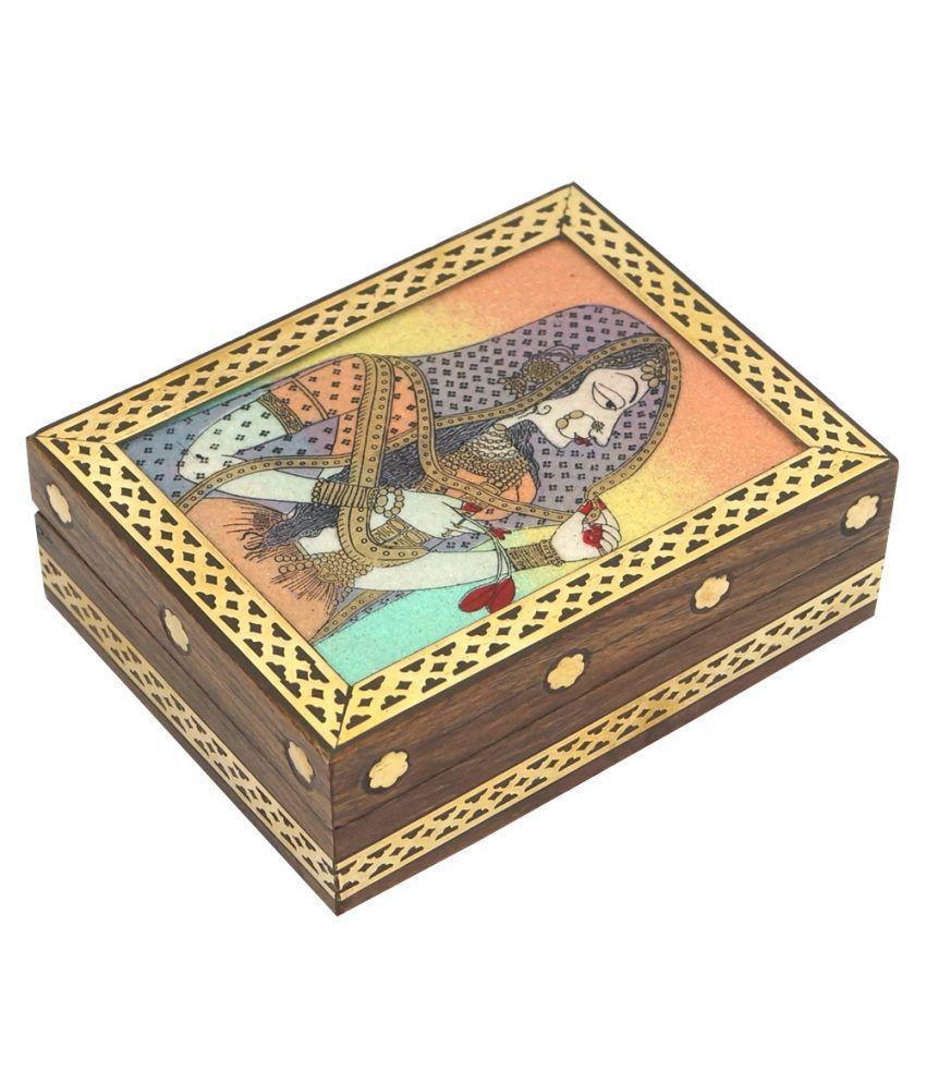 R S Jewels Rajasthani Stone Painting Wooden Handicraft Jewelry Box