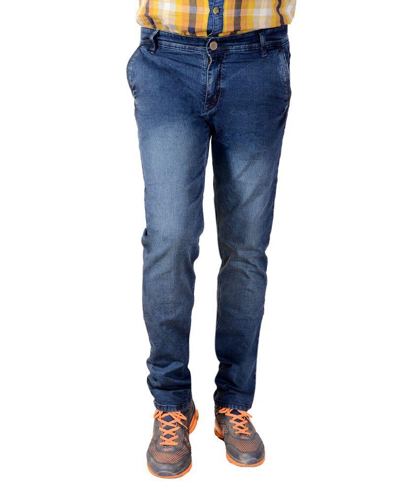 Vinci Blue Cotton Slim Fit Men's Jeans