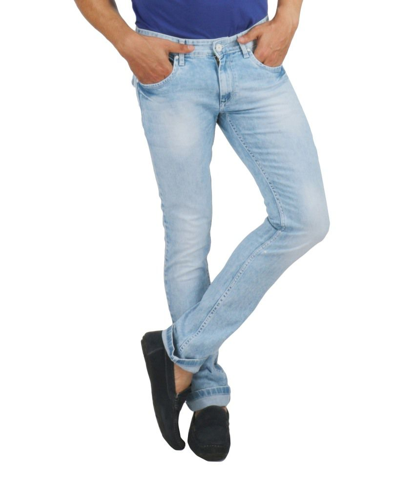 Streetguys Blue Cotton Blend Basics Men's Jeans