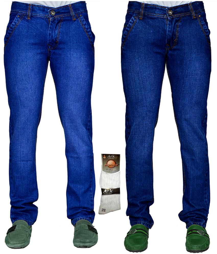 X Cross Blue Cotton Regular Fit Jeans For Men - Combo Of 2