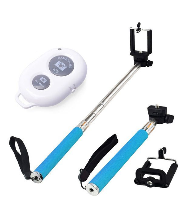 Generic Selfie Monopod Selfie Stick With BLUTOOTH SHUTTER and Mobile Clamp