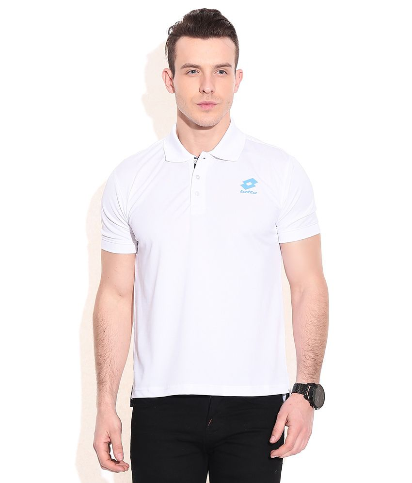 Lotto White Polyester Polo T-shirts