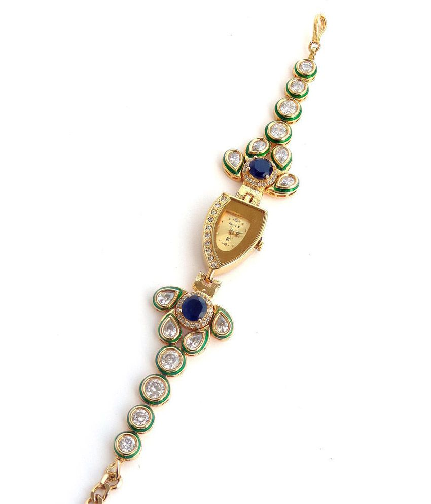Nishugems Multicolour Kundan Gold Plated Bracelet With Watch