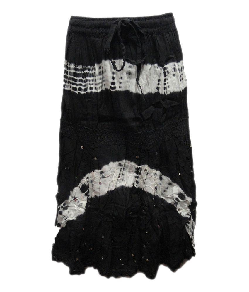 Threads Black Cotton Printed Skirt