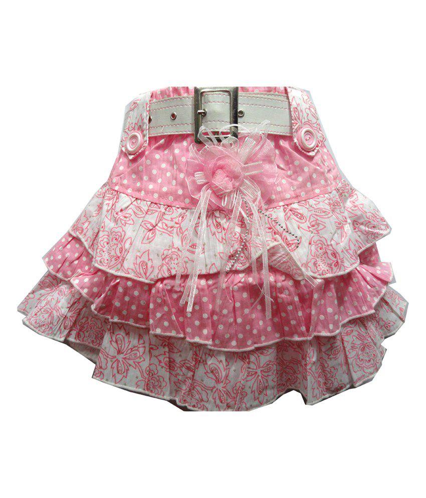 Threads Pink Cotton Printed Skirt