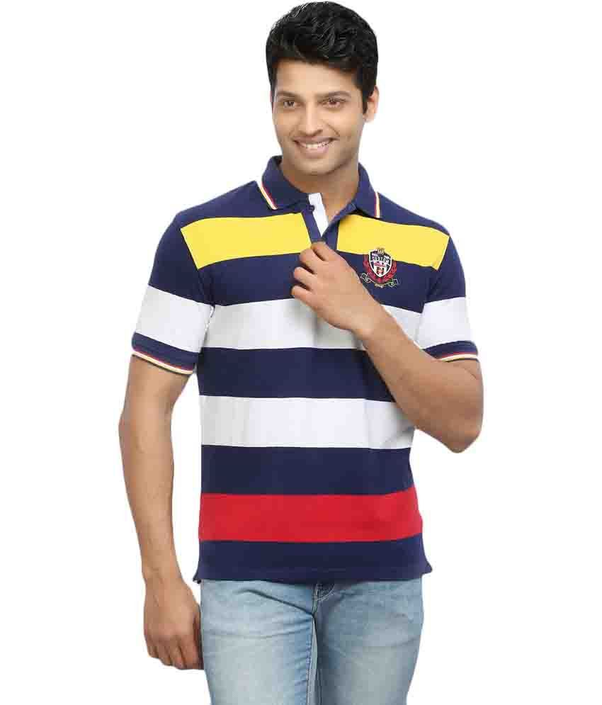 W & T Red Striped Men's T-shirt