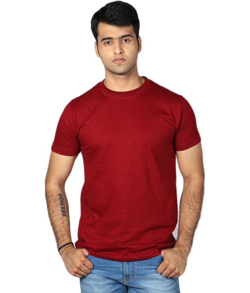 Billy Buddha Maroon Round Neck Half Sleeve Cotton T-shirt For Men
