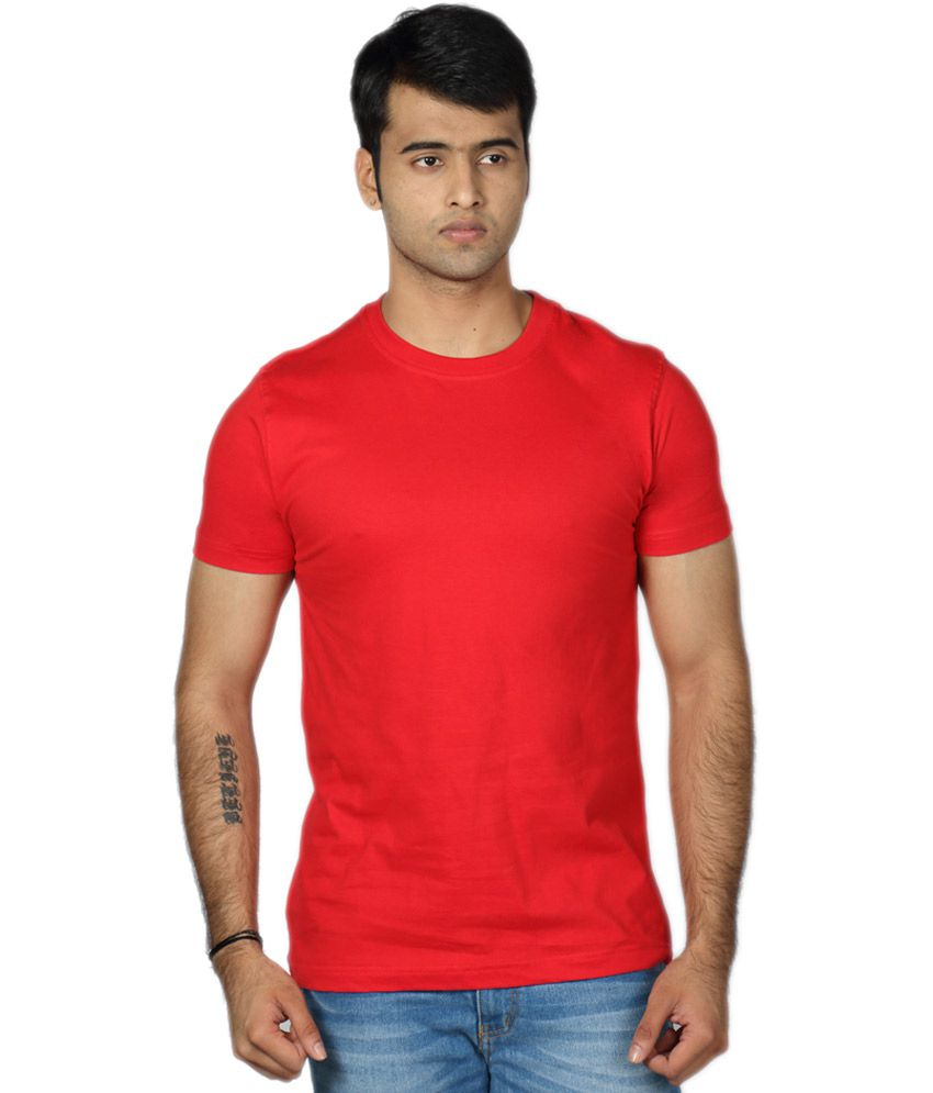 Billy Buddha Red Round Neck Half Sleeve Cotton T-shirt For Men