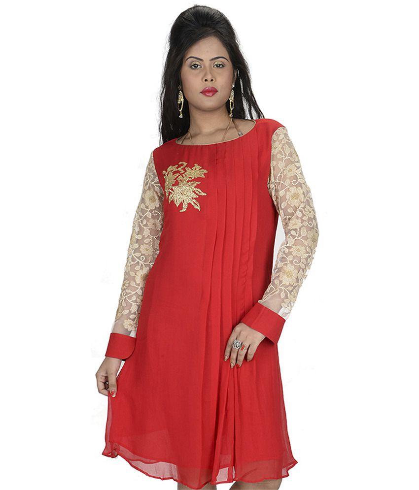 Sati Red Embroidered Faux Georgette Medium Kurti