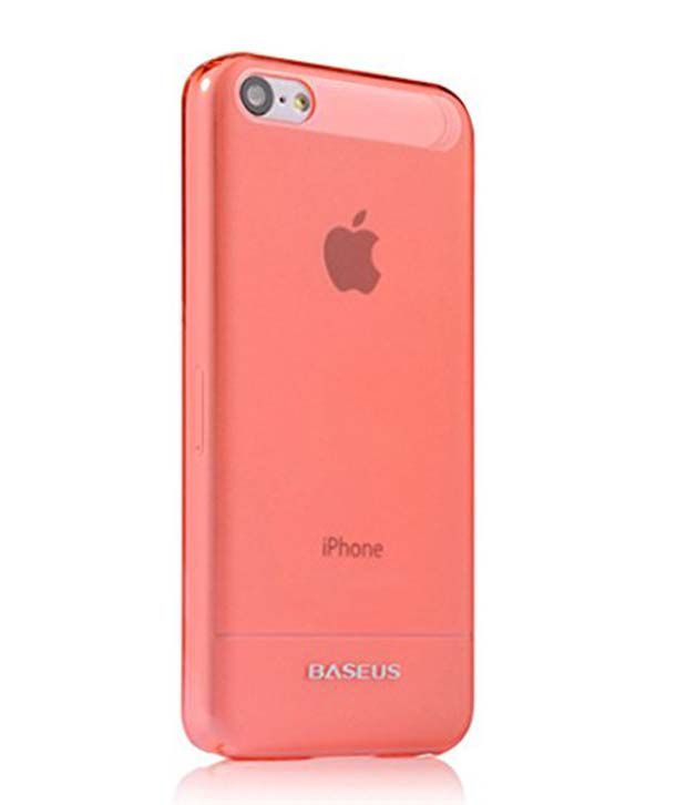 Baseus 0.6mm Ultra Thin Hard Back Case Cover For Iphone 5c + Screen Guard - Red