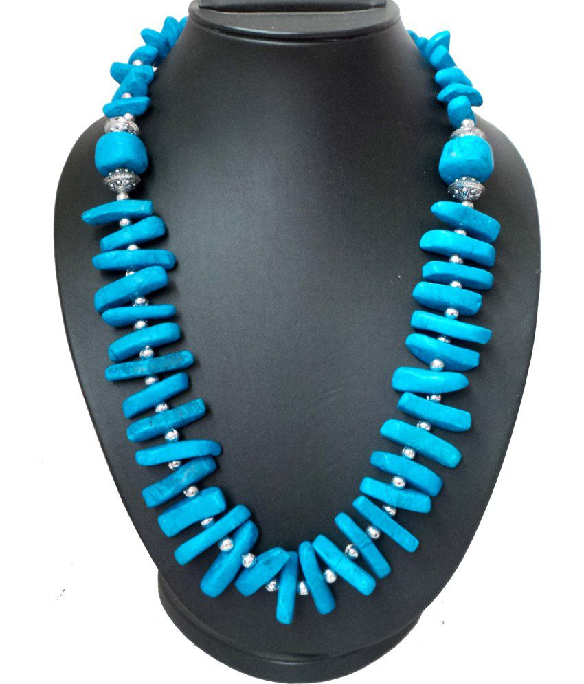 Modish Look Contemporary Party Wear Blue Tribal Look Necklace