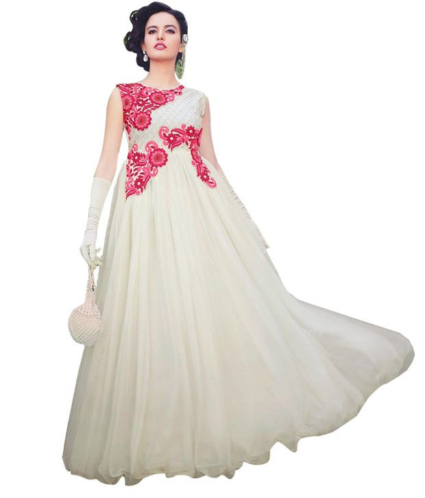 951c0bdd7 Rsfgown White Net Gowns - Buy Rsfgown White Net Gowns Online at Best Prices  in India on Snapdeal