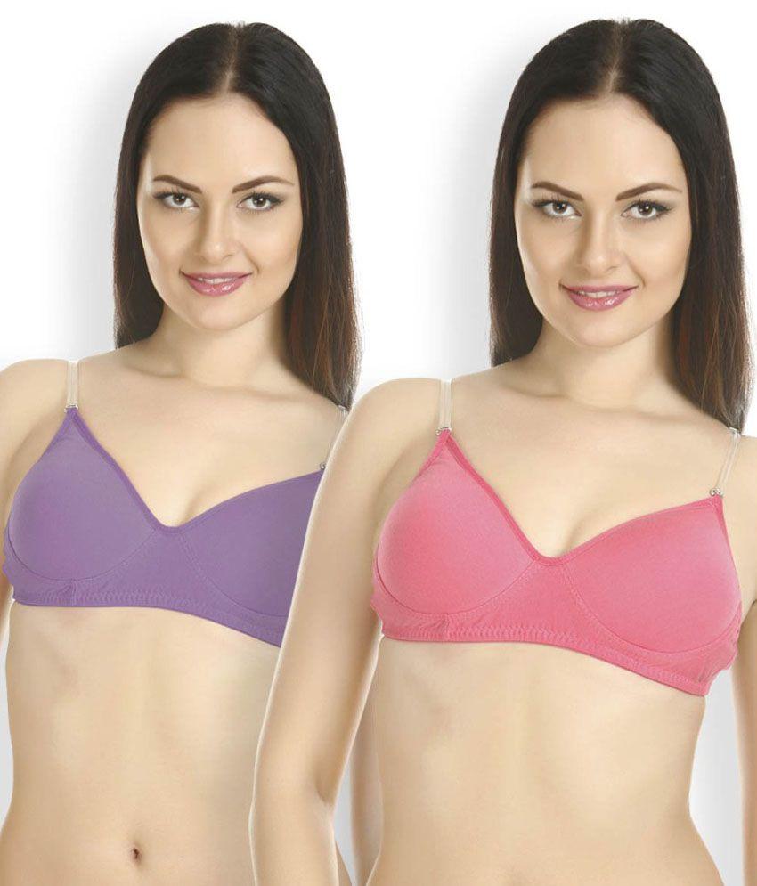 Tweens Multi Color Cotton Padded Bra Pack of 2