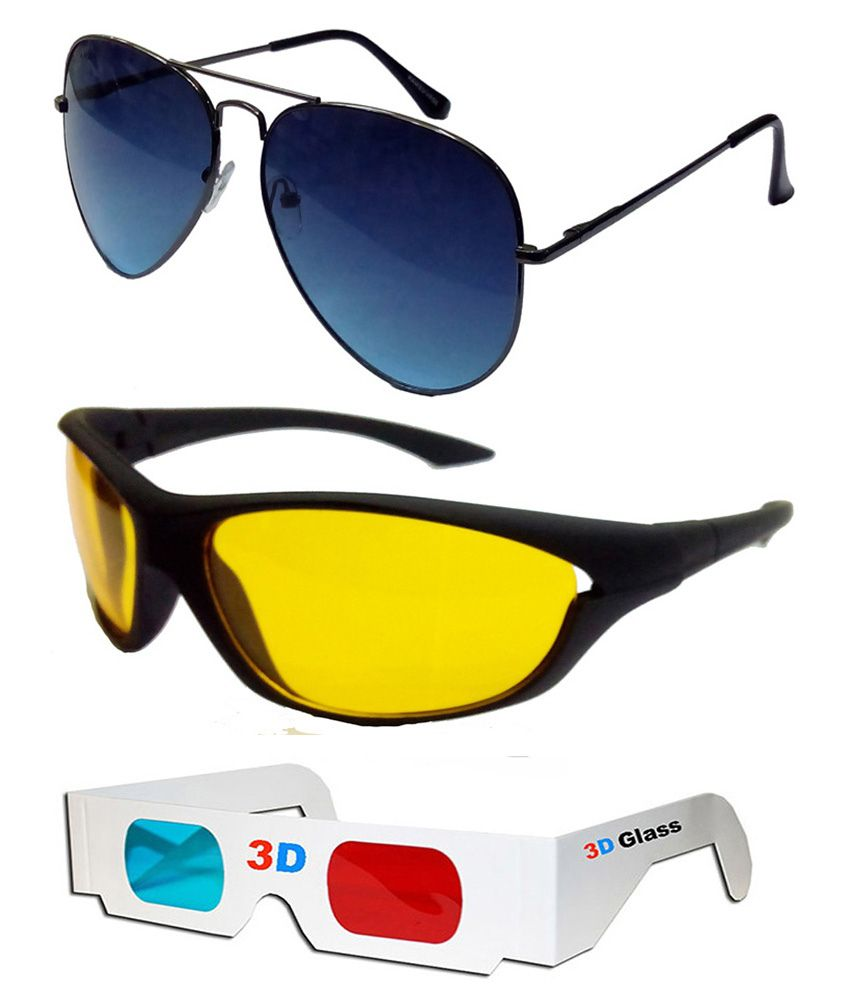 b46cf56a13 Hrinkar Aviator Sunglasses Black Frame Dark Blue Lens with Night Riding  Black Frame Yellow Lens and 3D Glass - Pack of 3 - Buy Hrinkar Aviator  Sunglasses ...