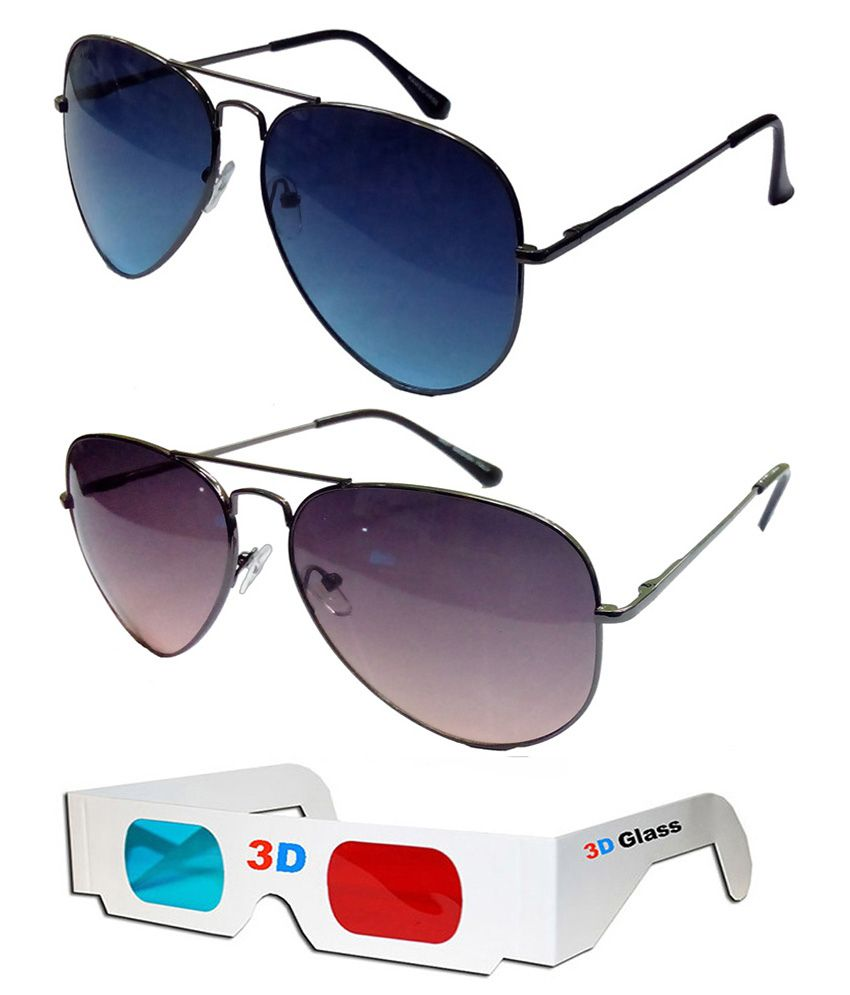 6cf409bb7d Hrinkar Aviator Sunglasses Black Frame Dark Blue Lens with Aviator Black  Frame Dark Pink Lens and 3D Glass - Pack of 3 - Buy Hrinkar Aviator  Sunglasses ...