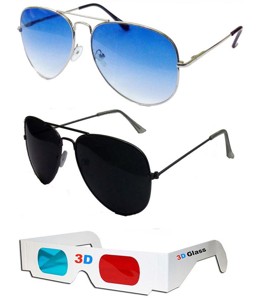 da6a5299eca1b Hrinkar Aviator Sunglasses Silver Frame Light Blue Lens with Aviator Black  Frame Black Lens and 3D Glass - Pack of 3 - Buy Hrinkar Aviator Sunglasses  Silver ...