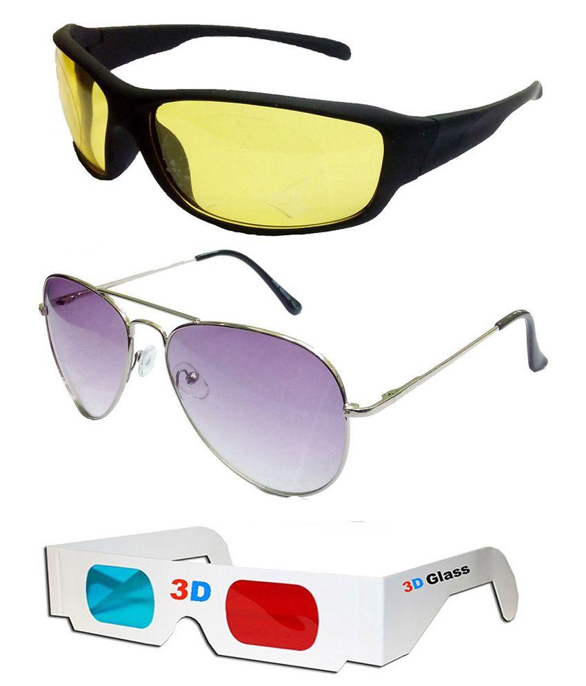 Hrinkar - Purple,Yellow Pilot Sunglasses ( )