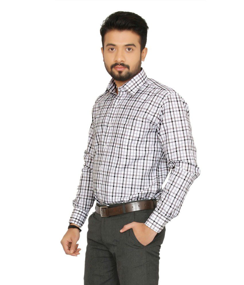 Indian Weller Gray Checks Cotton Blend Full Sleeves Formals ...