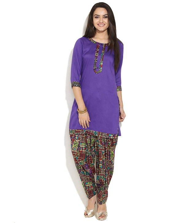 Ayaany Purple Retro Geo Printed Salwar-Kurta Set