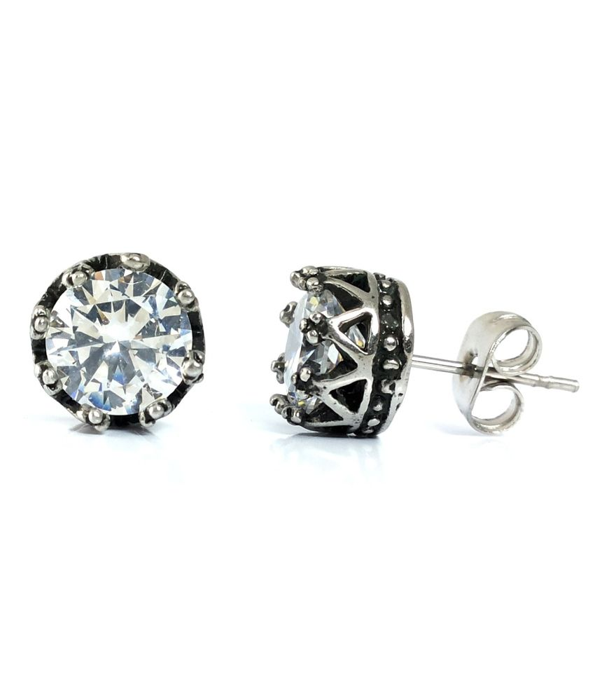 Ammvi Creations 8.5 Mm Cz Solitaire Royal Crown Luxury Stud Earrings For Men