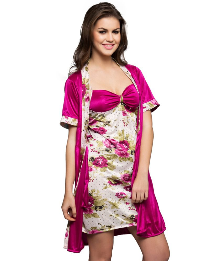 e8308c90e0842 Buy Clovia Pink Printed Nightsuit Set Online at Best Prices in India -  Snapdeal
