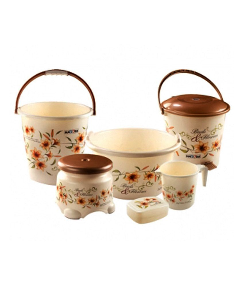 nayasa cream and brown bathroom set buy nayasa cream and