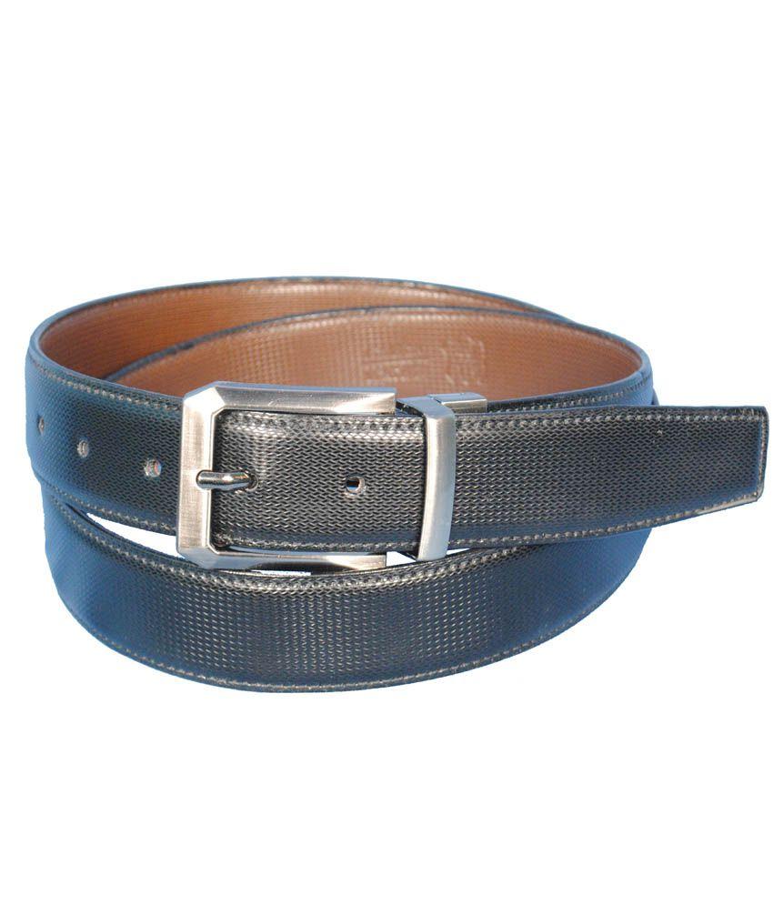 Runker's Black Leather Formal Reversible Belt for Men