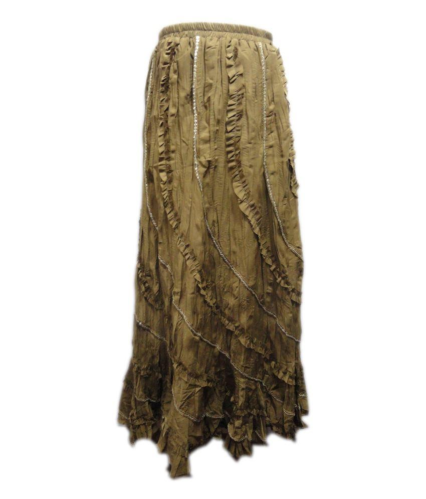 Threads Brown Cotton Printed Skirt