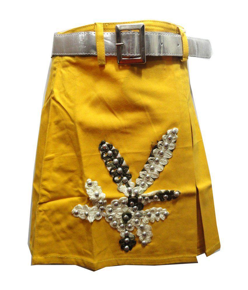 Threads Yellow Cotton Printed Skirt